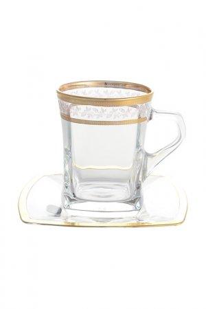 Набор чайных пар 220 мл Bohemia. Цвет: прозрачный, золотой