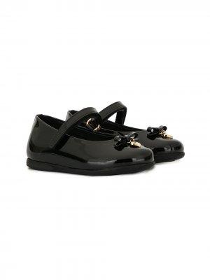Декорированные балетки Dolce & Gabbana Kids. Цвет: черный
