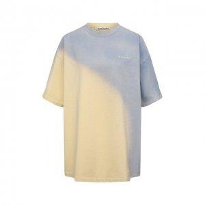 Хлопковая футболка Acne Studios. Цвет: жёлтый