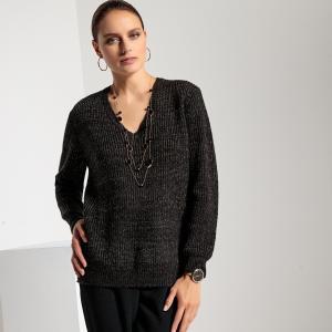 Пуловер свободного покроя с V-образным вырезом волокнами металлическим блеском ANNE WEYBURN. Цвет: черный,экрю