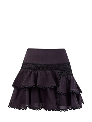 Хлопковая юбка Shelley с широкими оборками CHARO RUIZ IBIZA. Цвет: черный