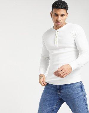 Белая футболка хенли из органического хлопка -Белый Knowledge Cotton Apparel
