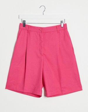 Розовые атласные шорты в строгом стиле -Розовый Monki