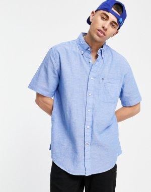 Однотонная рубашка с коротким рукавом peters-Голубой Tommy Hilfiger