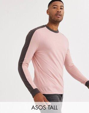 Розовый лонгслив с контрастными вставками на плечах Tall ASOS DESIGN