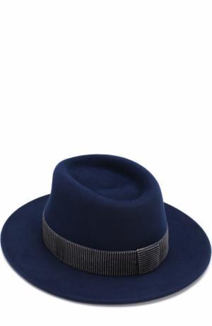 Фетровая шляпа Thadee с лентой Maison Michel. Цвет: синий