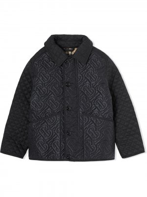 Стеганая куртка с монограммой Burberry Kids. Цвет: черный