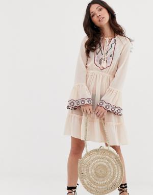 Пляжное платье миди с глубоким вырезом и вышивкой -Мульти Anmol