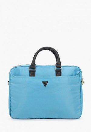 Сумка Guess для ноутбука 15 Nylon computer bag with Triangle metal logo Light blue. Цвет: голубой