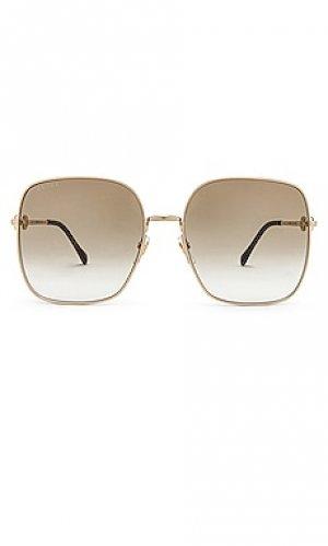 Солнцезащитные очки horsebit metal oversize square Gucci. Цвет: металлический золотой