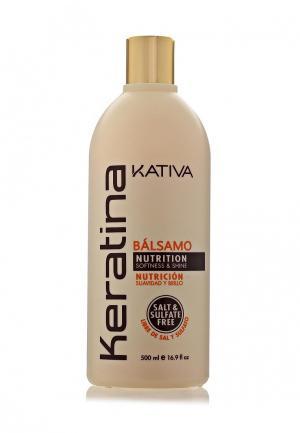 Бальзам для волос Kativa Кератиновый укрепляющий всех типов, 500 мл. Цвет: белый