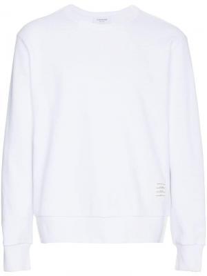 Пуловер с круглым вырезом и полоской сзади Thom Browne. Цвет: белый
