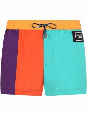 Плавки-шорты в стиле колор-блок Dolce & Gabbana. Цвет: оранжевый