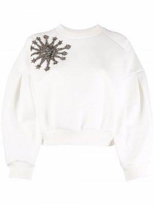 Толстовка с кристаллами Alexander McQueen. Цвет: белый