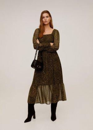 Леопардовое миди-платье - Lyon Mango. Цвет: коричневый