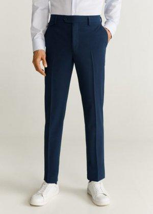 Костюмные брюки slim fit из шерсти - Travel Mango. Цвет: чернильный