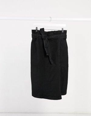 Черная джинсовая юбка с присборенной талией -Черный Elvi
