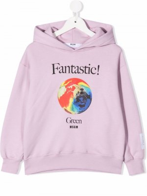 Earth-print cotton hoodie MSGM Kids. Цвет: фиолетовый