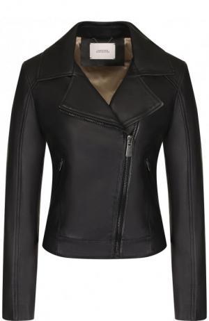 Кожаная куртка с косой молнией Dorothee Schumacher. Цвет: черный