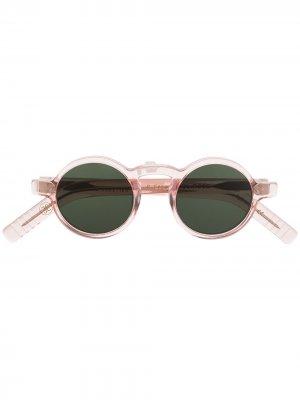 Солнцезащитные очки Freud в круглой оправе Lesca. Цвет: розовый