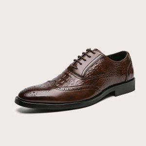 Мужские минималистичные броги на шнурке SHEIN. Цвет: коричневые