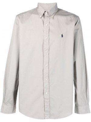 Polo Pony-embroidered cotton shirt Ralph Lauren. Цвет: серый
