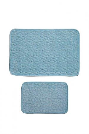 Комплект ковриков для ванной Giz Home. Цвет: голубой