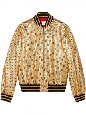 Куртка-бомбер с принтом Guccy Gucci. Цвет: золотистый
