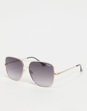 Золотистые солнцезащитные женские очки в большой квадратной оправе Quay Stop and Stare-Коричневый Australia