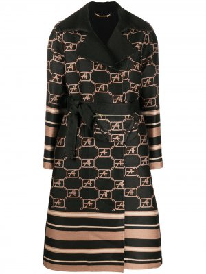 Пальто с геометричным принтом Alberta Ferretti. Цвет: черный