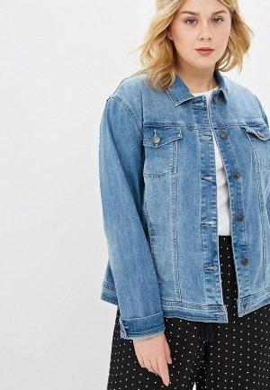 Куртка джинсовая Ulla Popken. Цвет: голубой
