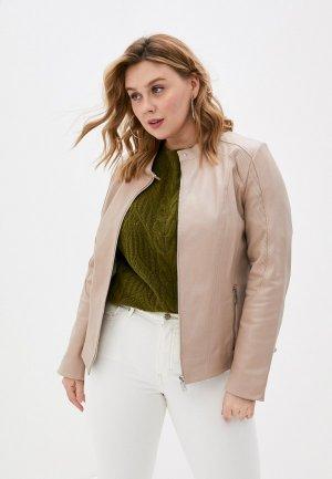 Куртка кожаная Le Monique. Цвет: розовый