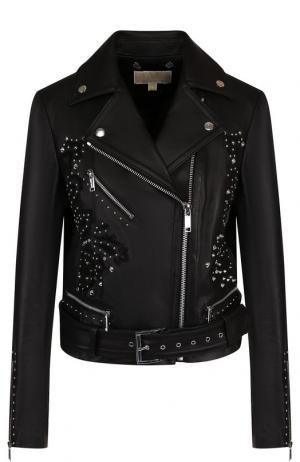 Кожаная куртка с поясом и декоративной отделкой MICHAEL Kors. Цвет: черный