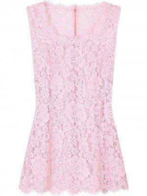 Топ без рукавов с кружевом Dolce & Gabbana. Цвет: фиолетовый