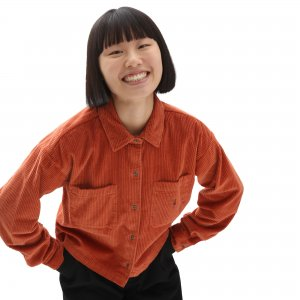 Рубашка Ainara Cord Woven Buttondown VANS. Цвет: красный