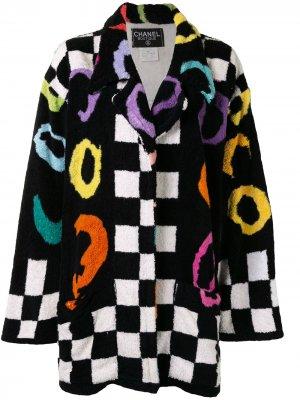 Клетчатое пальто 1995-го года Chanel Pre-Owned. Цвет: черный
