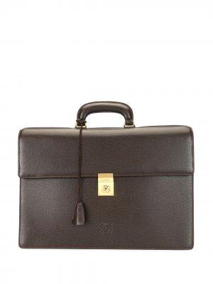 Фактурный портфель с логотипом Loewe Pre-Owned. Цвет: коричневый