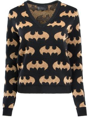 Пуловер с золотистым принтом Philipp Plein. Цвет: разноцветный