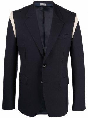 Пиджак со вставками Alexander McQueen. Цвет: синий