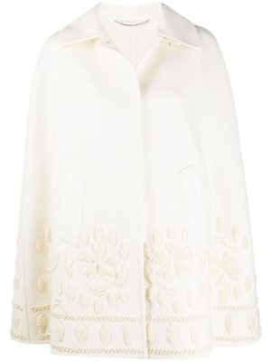 Пальто-кейп с вышивкой Ermanno Scervino. Цвет: белый