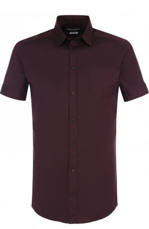 Хлопковая сорочка с короткими рукавами Dolce & Gabbana. Цвет: красный