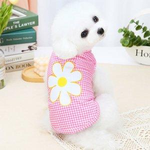 Майка для домашних животных с цветочным принтом SHEIN. Цвет: многоцветный