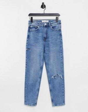 Узкие эластичные джинсы из органического хлопка синего выбеленного цвета в винтажном стиле с рваной отделкой -Голубой Stradivarius