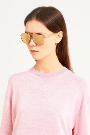 Золотистые солнцезащитные очки Gucci. Цвет: золотой