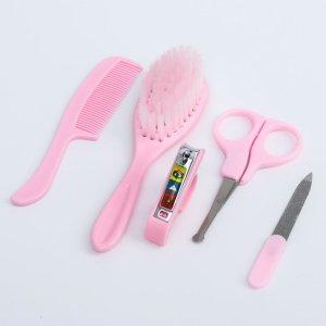 Набор по уходу за ребёнком, 5 предметов: щётка, расчёска, безопасные ножницы, пилочка и щипчики для ногтей, цвет розовый Крошка Я