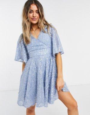 Голубое платье мини с рукавами «летучая мышь», запахом и пайетками -Голубой Forever U