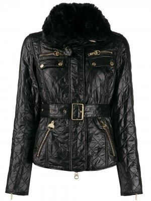 Стеганая байкерская куртка с поясом Barbour. Цвет: черный