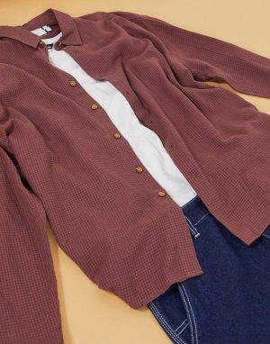 Oversized-рубашка в клетку стиле 90-х -Фиолетовый ASOS DESIGN