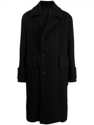 Однобортное пальто оверсайз Wooyoungmi. Цвет: черный