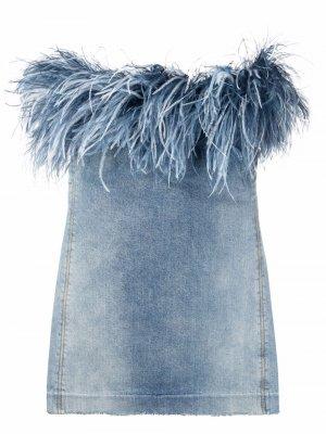 Джинсовое платье с перьями Saint Laurent. Цвет: синий